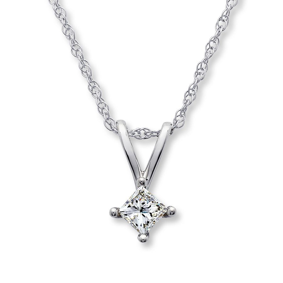 12f1563854f Diamond Necklace 1/4 Carat Princess-cut 14K White Gold | Wish List ...