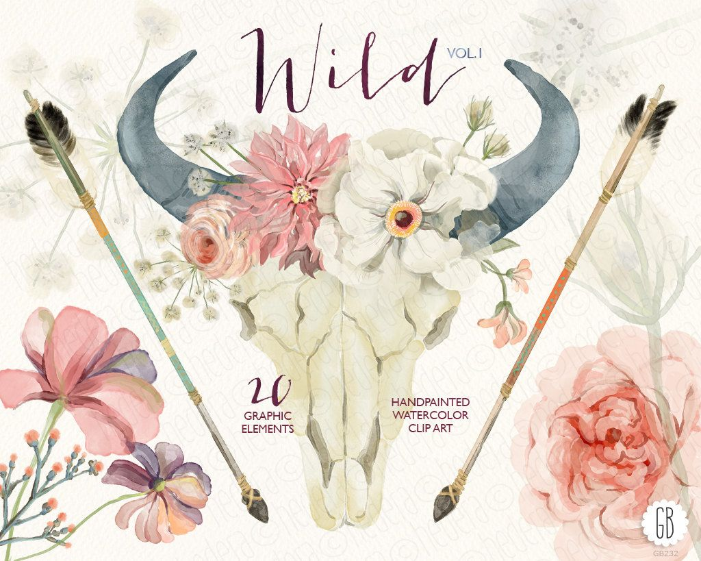 Watercolor Floral Bull Skull Peony Juliet Roses Dahlia
