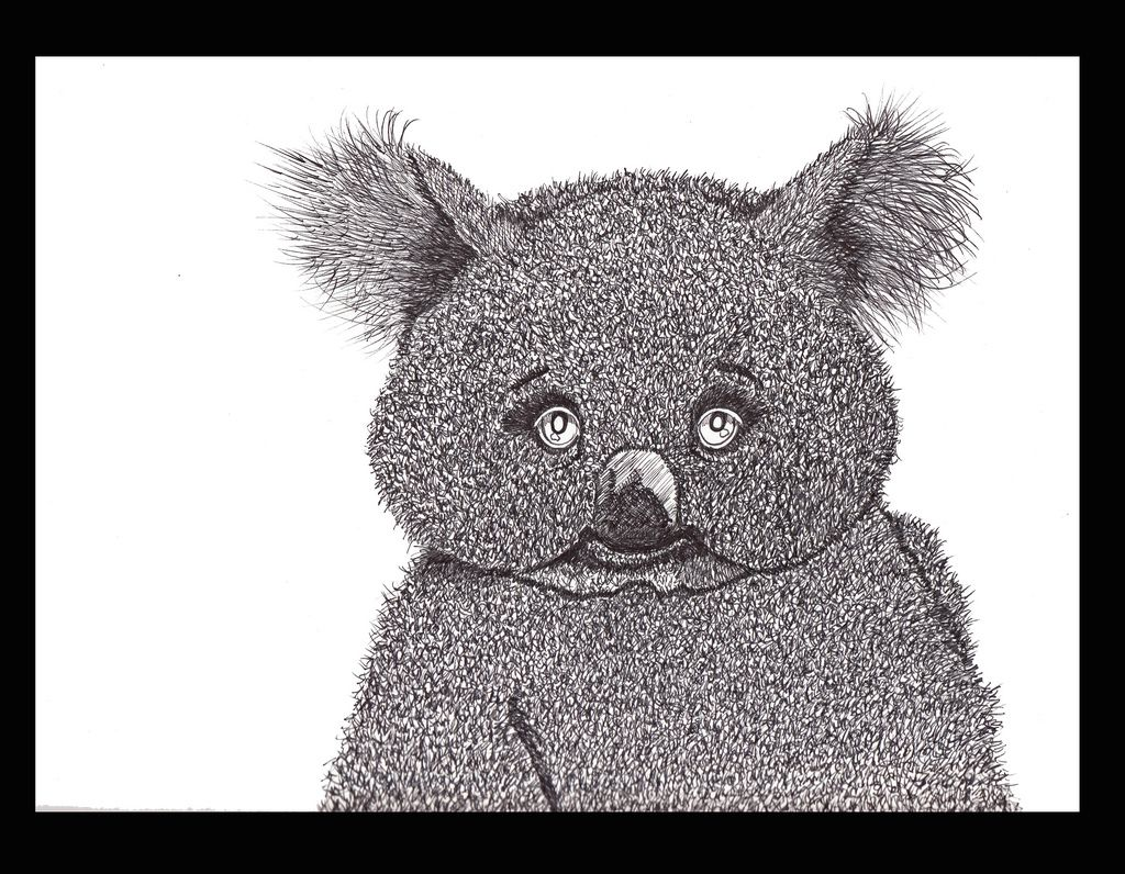 https://flic.kr/p/bfmN2M | swiggley koala with attitude. | I used a fine tip sharpie pen for this little guy,Im experimenting with ways to draw fur,I kind of like this way but its a bit too dark,well Ill keep playing and see what I come up with next.
