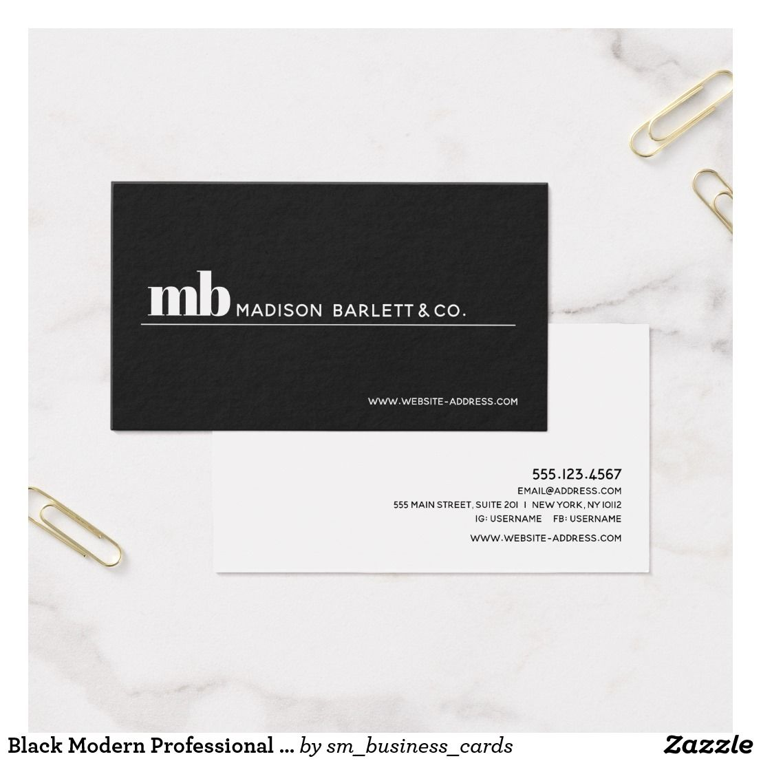 Black Modern Professional Monogram Business Card | Business cards ...
