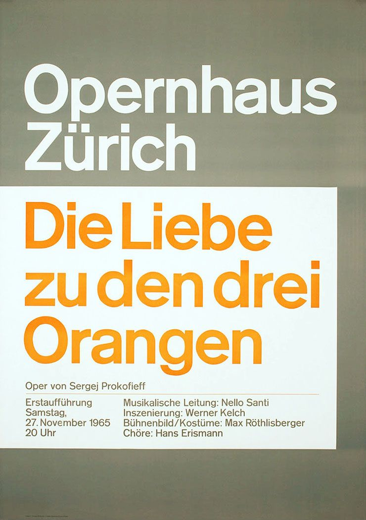 """Die Liebe zu den drei Orangen"". Designer: Josef Müller-Brockmann, 1965. My favorite JMB work. More on the side of functionalism and brutalism and less ""flashy"" than the intersecting forms posters. Seems more ""punk rock"" to me."