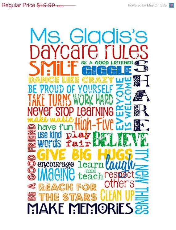 ON SALE Classroom Rules edited for a Daycare or by sweetleighmama