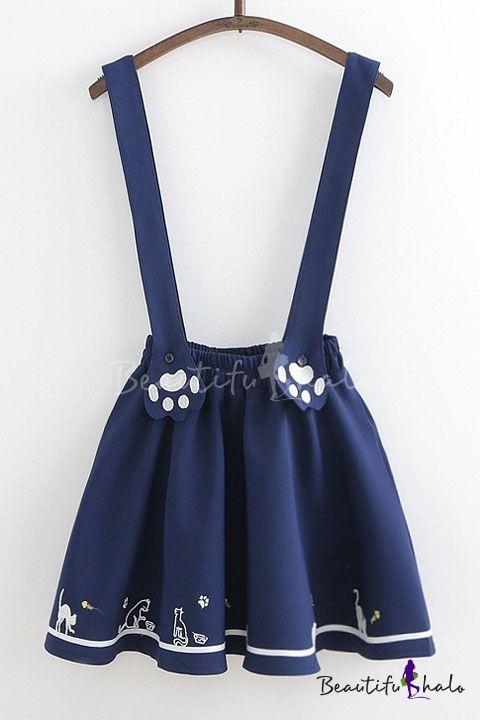 7e0402fd6d034 Cute Cartoon Cat Printed Elastic Waist Mini Overall Skirt, Fashion ...