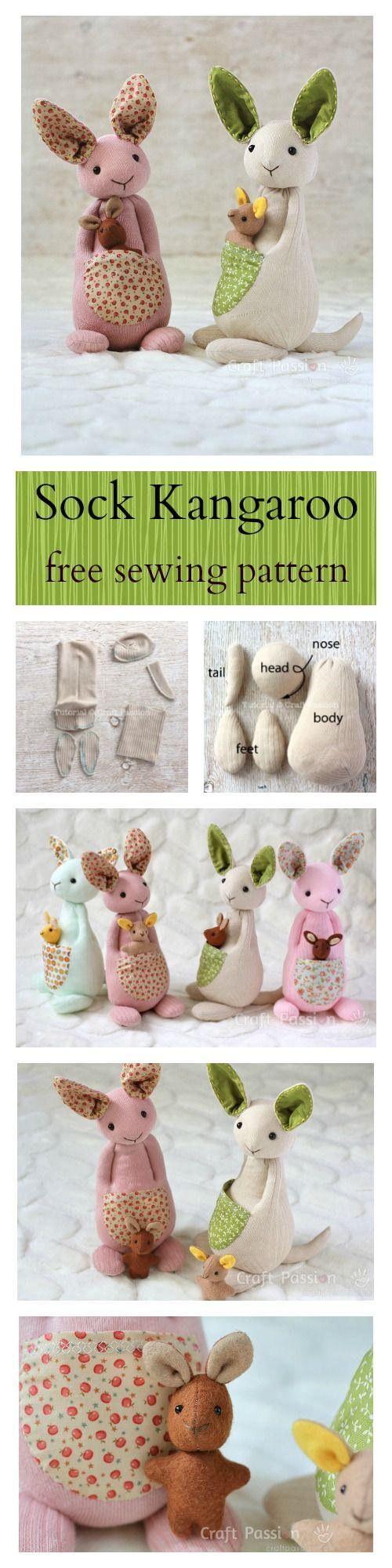 Sock Kangaroo Plushie - Free Sewing Pattern & Tutorial | Patrones de ...