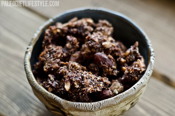 Chocolate Nut Granola..... walnuts, almonds, salt, honey, coconut oil, cocoa powder, vanilla, shredded coconut, chocolate