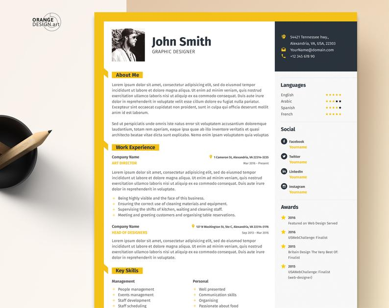 Word Resume Template with Photo / Graphic Designer CV