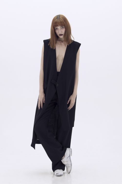 LUDUS - black cool wool asymmetric vest