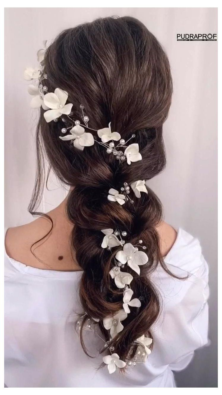 Bridal Hair Vine Extra Long Hair Vine Wedding Floral Hair Vine Bridal Headpiece Wedding Hair Accessories In 2020 Long Hair Styles Long Hair Vine Bride Hairstyles