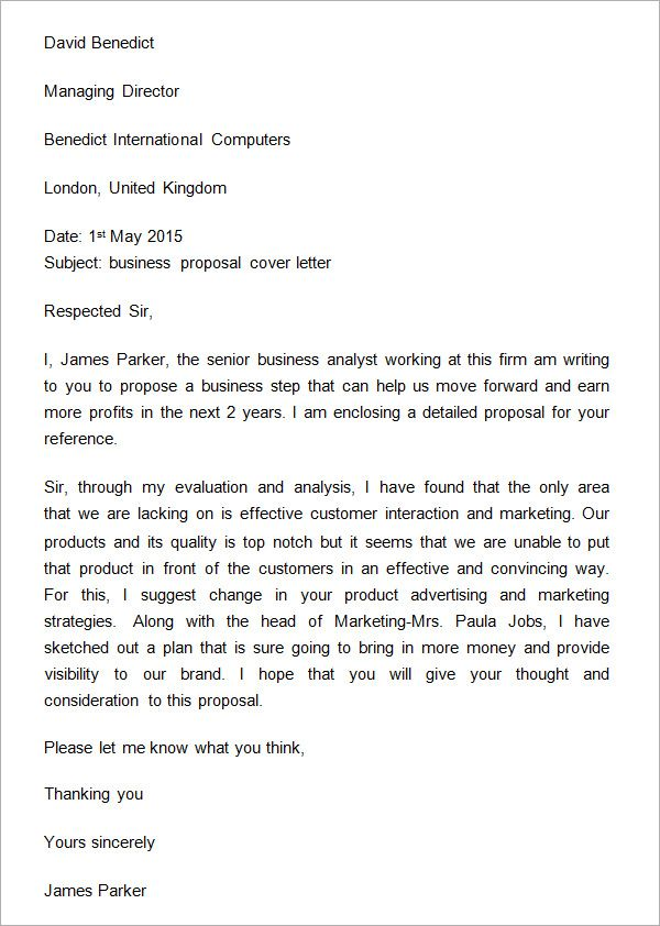 Sample Business Proposal Cover Letter  Business Proposal