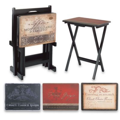 Buy Tuscan 5-Piece Snack Table Set from Bed Bath Beyond...Josh always wants to set up tray tables in the den.  sc 1 st  Pinterest & Buy Tuscan 5-Piece Snack Table Set from Bed Bath Beyond...Josh ...