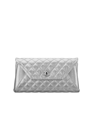 Chanel Silver Metallic Goatskin Fold Up Again Clutch Bag