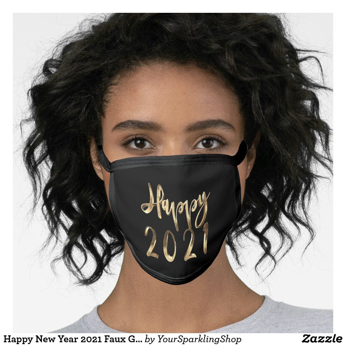 Happy New Year 2021 Faux Gold Black Face Mask Zazzle Com In 2020 Face Mask Mask Face