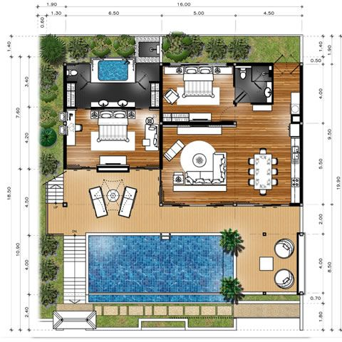 Khaolak Tropical Villas Home Design Floor Plans Small House Plans House Plans