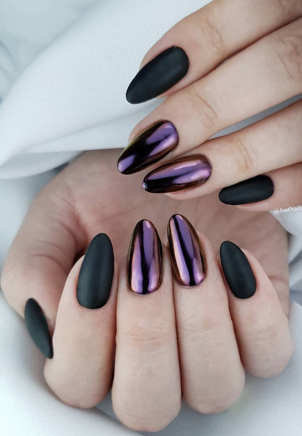 48 Hot Short Acrylic Almond Nails Design You Must Try Black And Purple Nails Almond Acrylic Nails Purple Nails