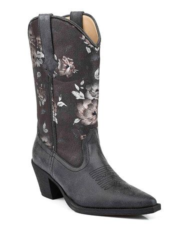 Look what I found on #zulily! Black Floral Embroidered Cowboy Boot #zulilyfinds