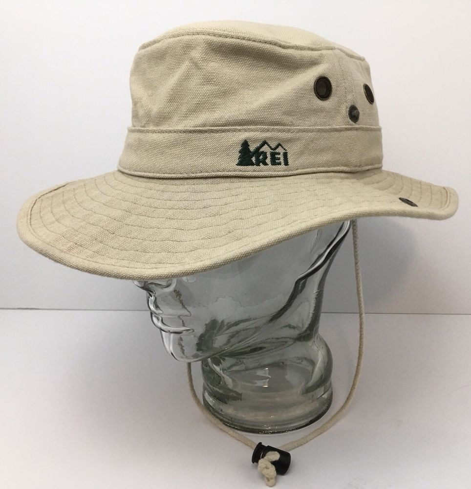 7fe943cedc9797 Vintage REI Paddling Sun Hat Outback Snap Sides Metal Vents Khaki Small USA  #REI #OutbackPaddlingHat