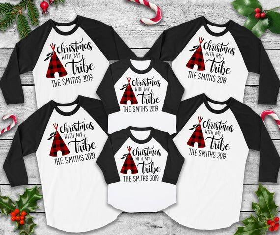 Christmas With The Tribe Custom Family Shirts Christmas Etsy Family Shirts Family Tees Family Christmas Shirts