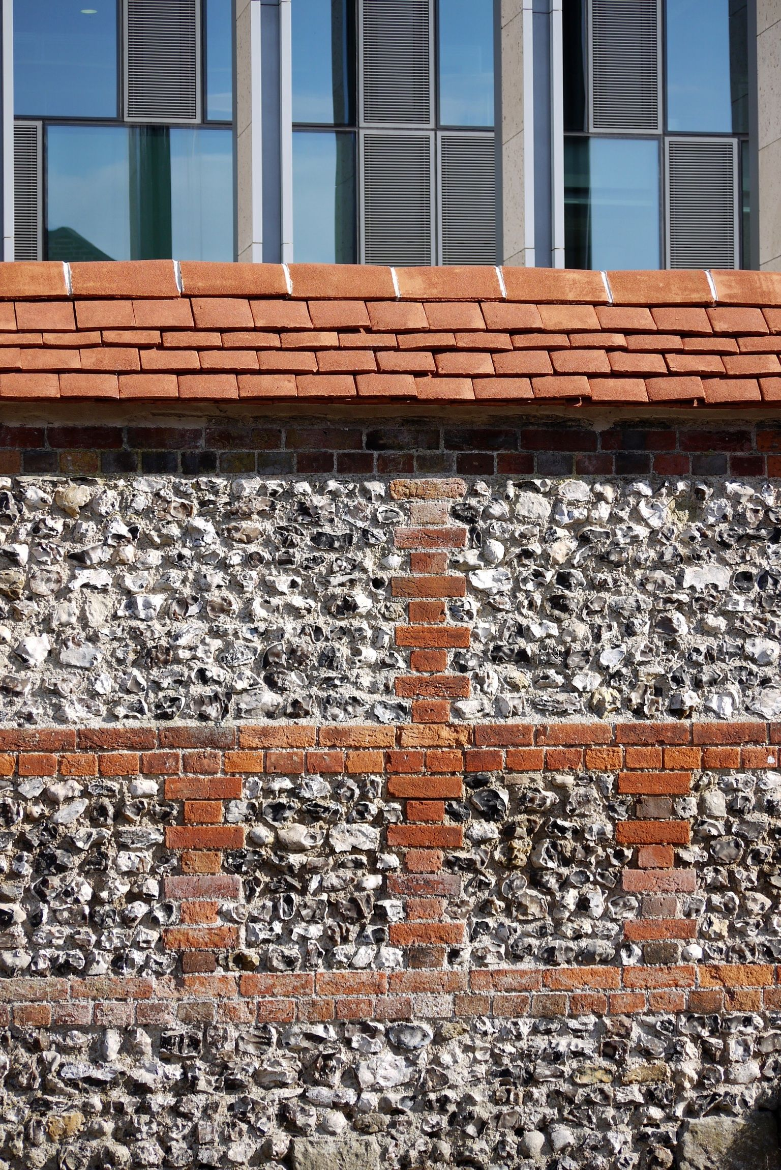 Flint Wall With Brick Coursing