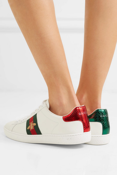 bc28f8ff0c5 Gucci | Ace watersnake-trimmed embroidered leather sneakers |  NET-A-PORTER.COM