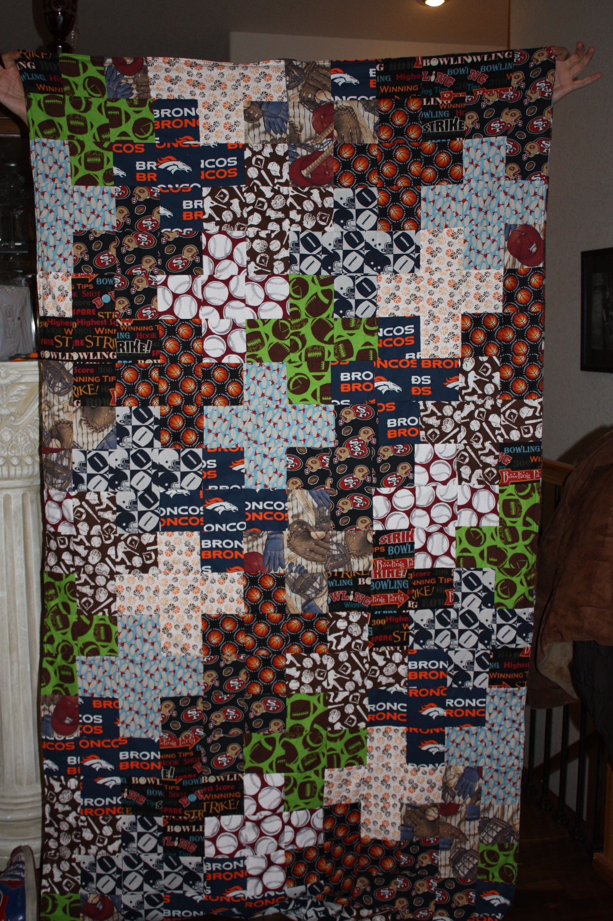 plus quilt with all the favorite sports