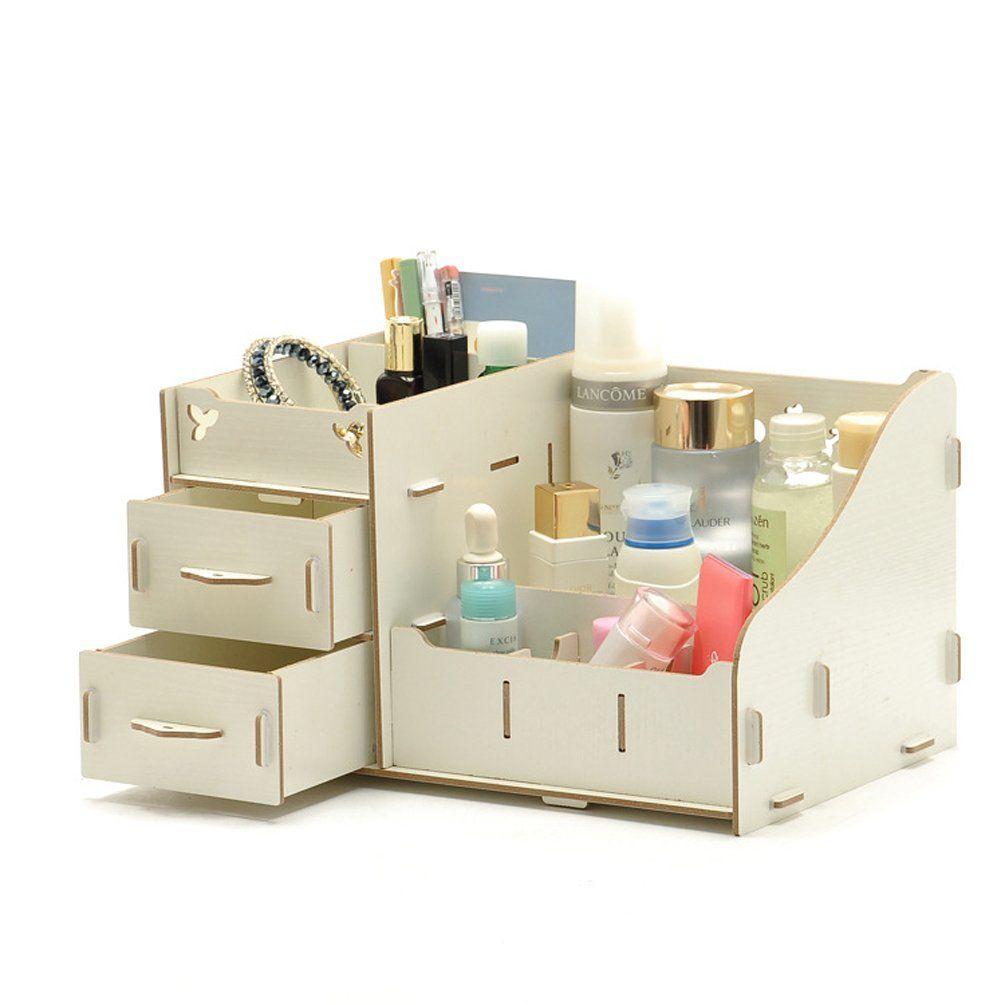 Wooden Desk Organiser Makeup Storage Display Jewelry Cosmetic Beauty Box White 1 Wooden Desk Organizer Makeup Storage Wooden Makeup Organizer