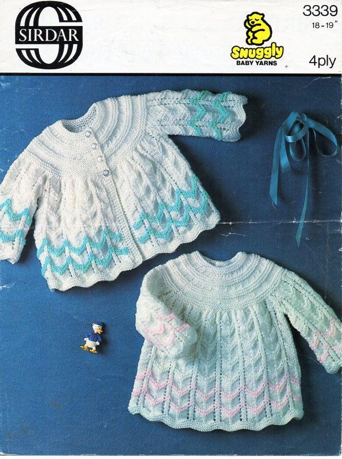 Instant Download pdf 3 Ply Yarn or Wool Angel Tops Size 18 to 19 Inch Chest Nearly Free Baby Knitting and Crochet Pattern