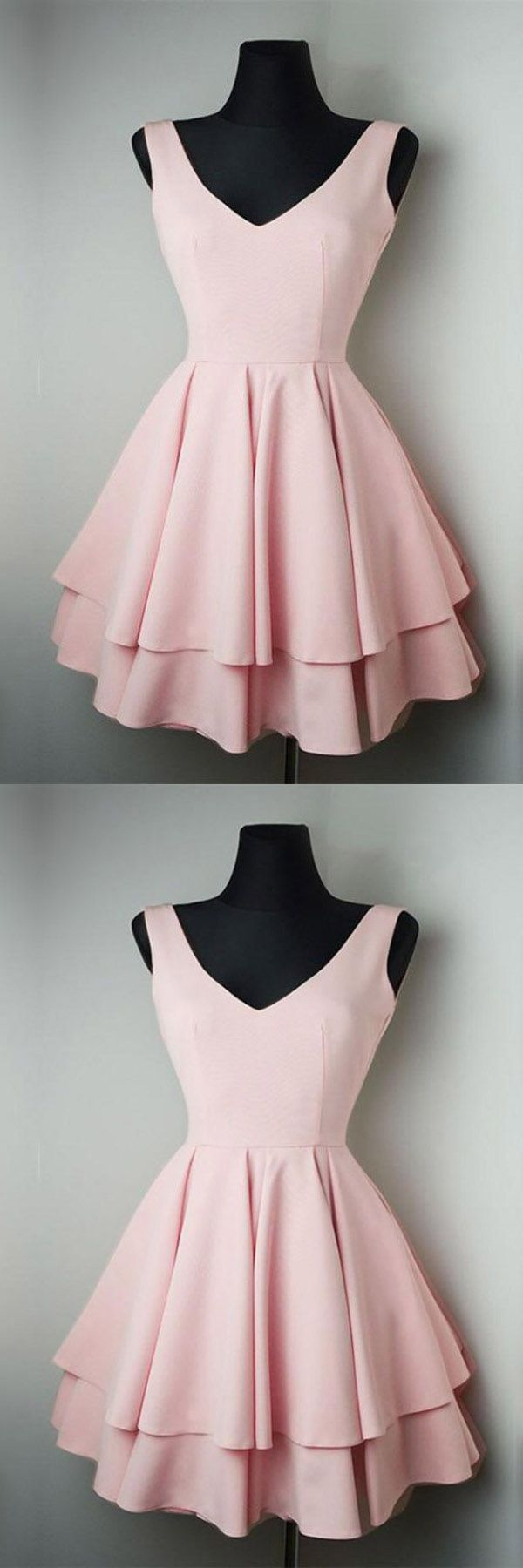 Simple v neck satin pretty homecoming dresses short prom dresses