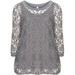 Zizzi Grey Plus Size Lace detail jersey top