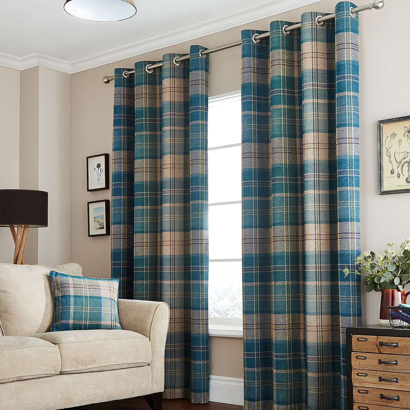 Construction Time Lined Curtains: Teal Hamish Lined Eyelet Curtains