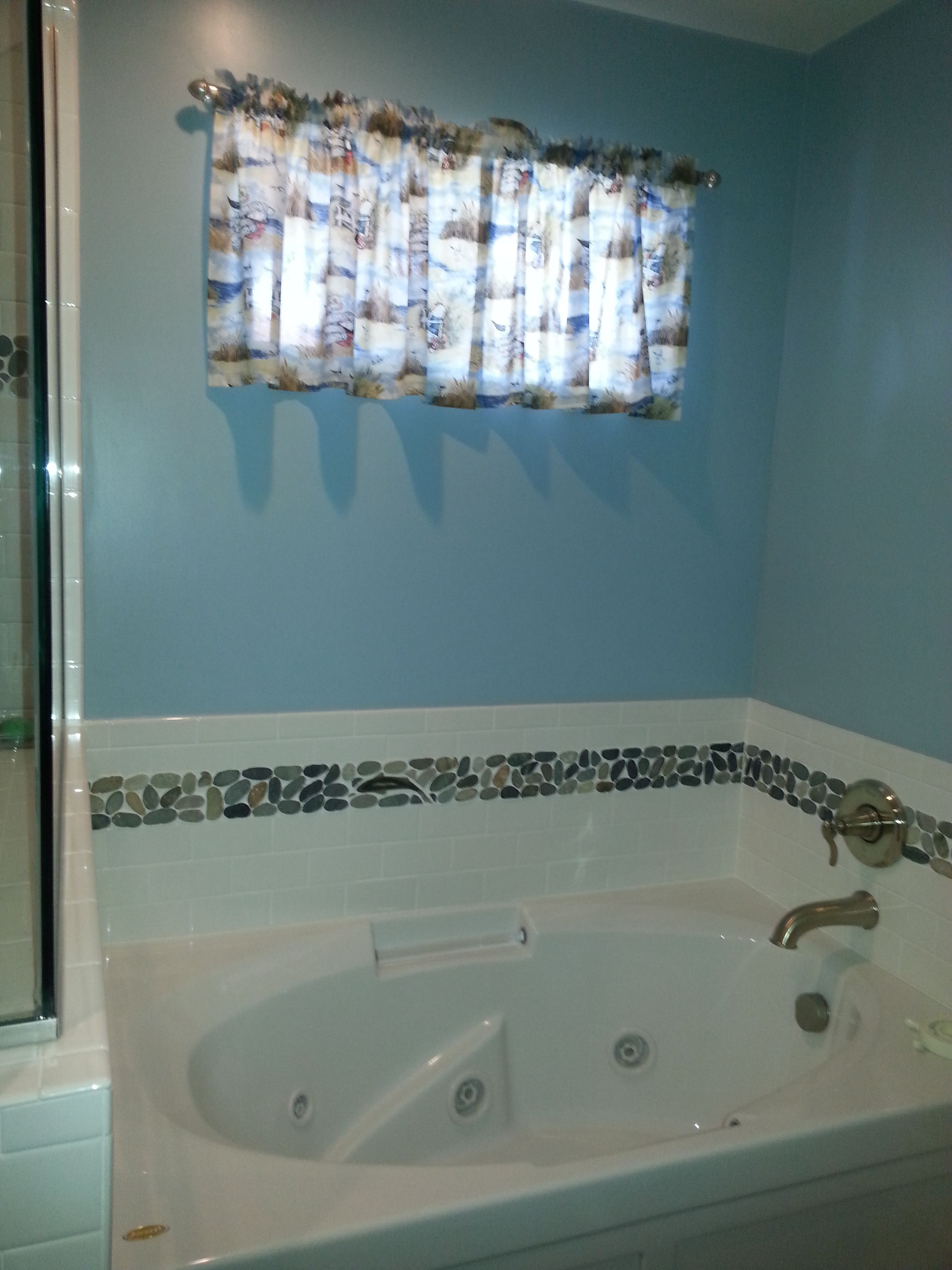 Bathtub with tile trim. Curtain custom ordered from AnaisCrafts on ...