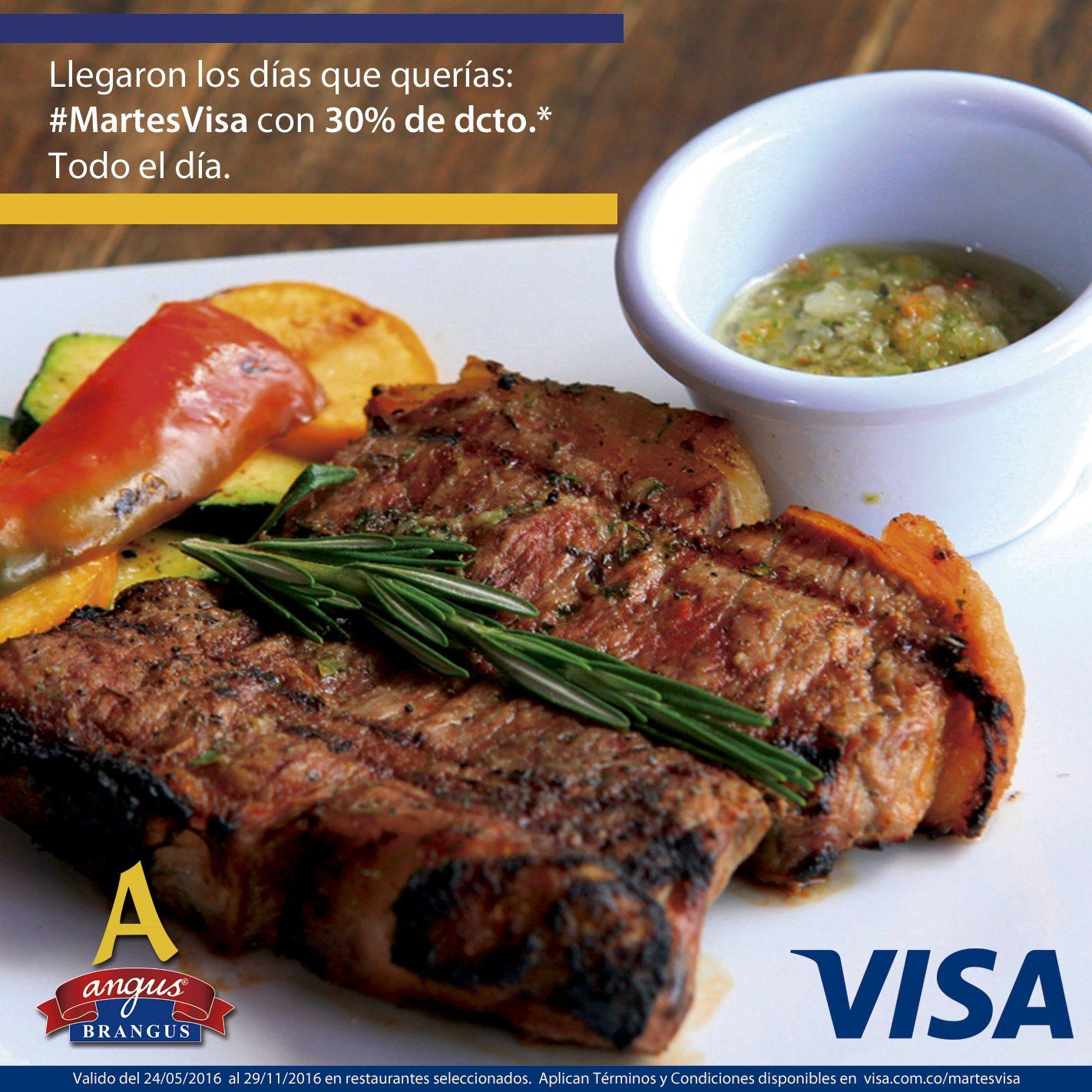 Llegó #MartesVisa y en ANGUS BRANGUS te esperamos con 30% de descuento en comidas y bebidas. ¡Te esperamos!. Aplican condiciones.   Cra. 42 # 34 - 15 / km. 1 Vía las Palmas www.angusbrangus.com.co  #Felizmartes @VisaColombia #restaurantesmedellín #medellin