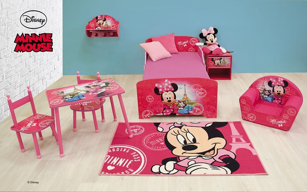 Disney Minnie Tisch mit 2 Stühle für Kinder, MDF/Metall