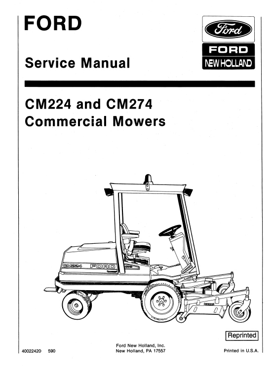 Ford Cm224 Cm274 Mowers Service Manual Ford News Ford Manual