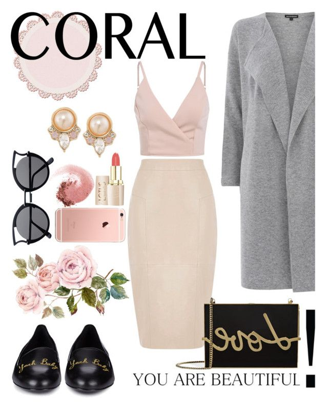 CORAL: pink and gray set for spring by aasaayaa on Polyvore featuring polyvore, fashion, style, Warehouse, Oasis, Yves Saint Laurent, Lanvin, Carolee, NARS Cosmetics and clothing