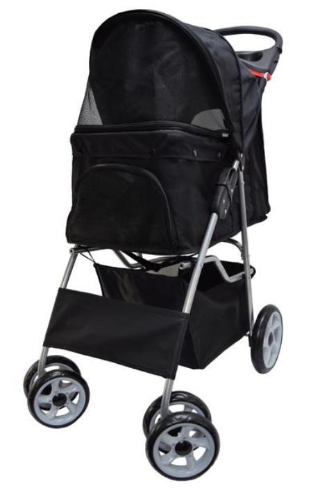 STROLRV001K Black Four Wheel Pet Stroller (With images