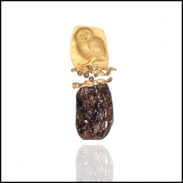 Owl Brooch, by Linda Kindler Priest Repoussé Jewelry. Via lkindlerpriest.com