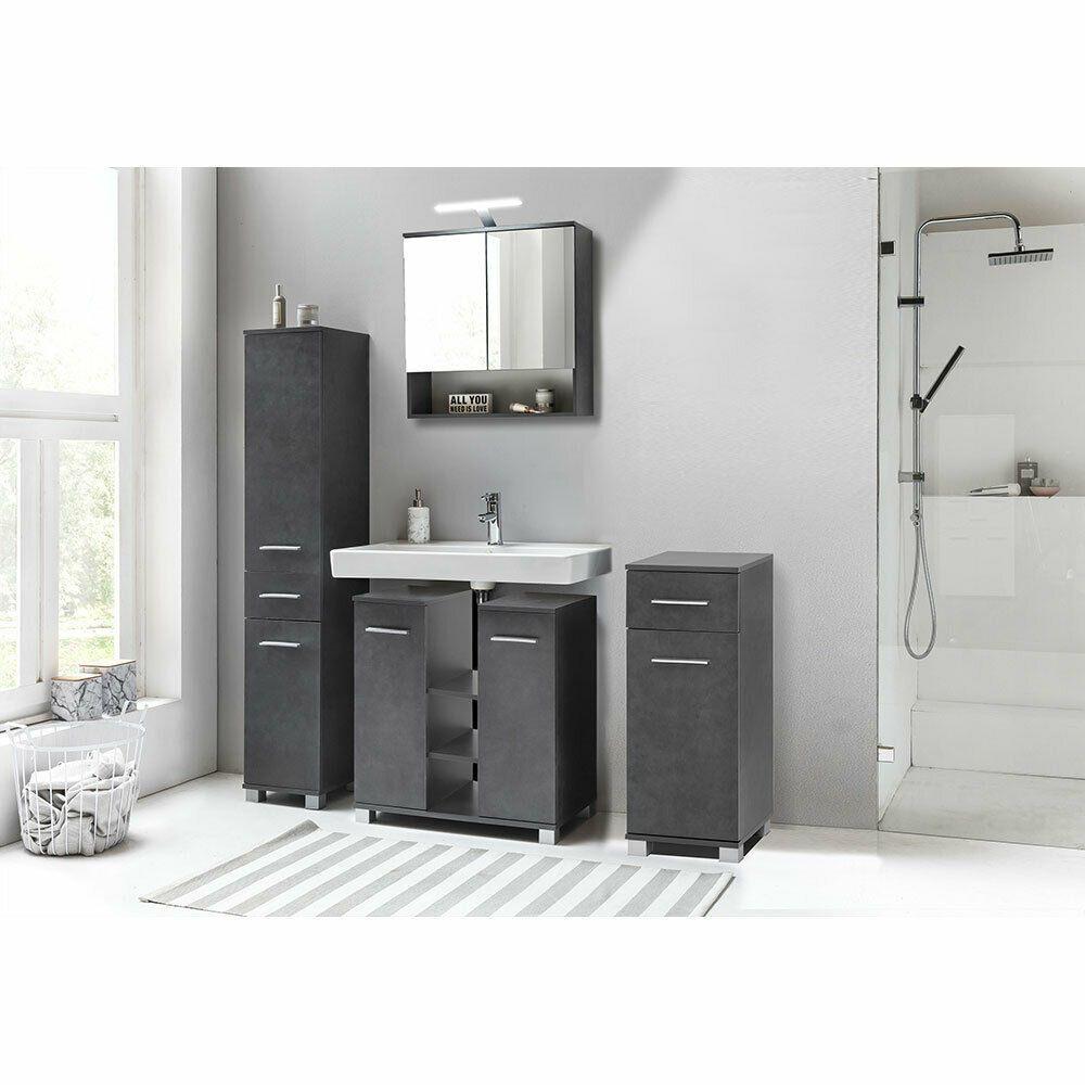 Bad Badezimmer Set Unterschrank Spiegelschrank Kommode Hochschrank 4tlg Graphit Ebay In 2020 Spiegelschrank Badezimmer Set Hochschrank