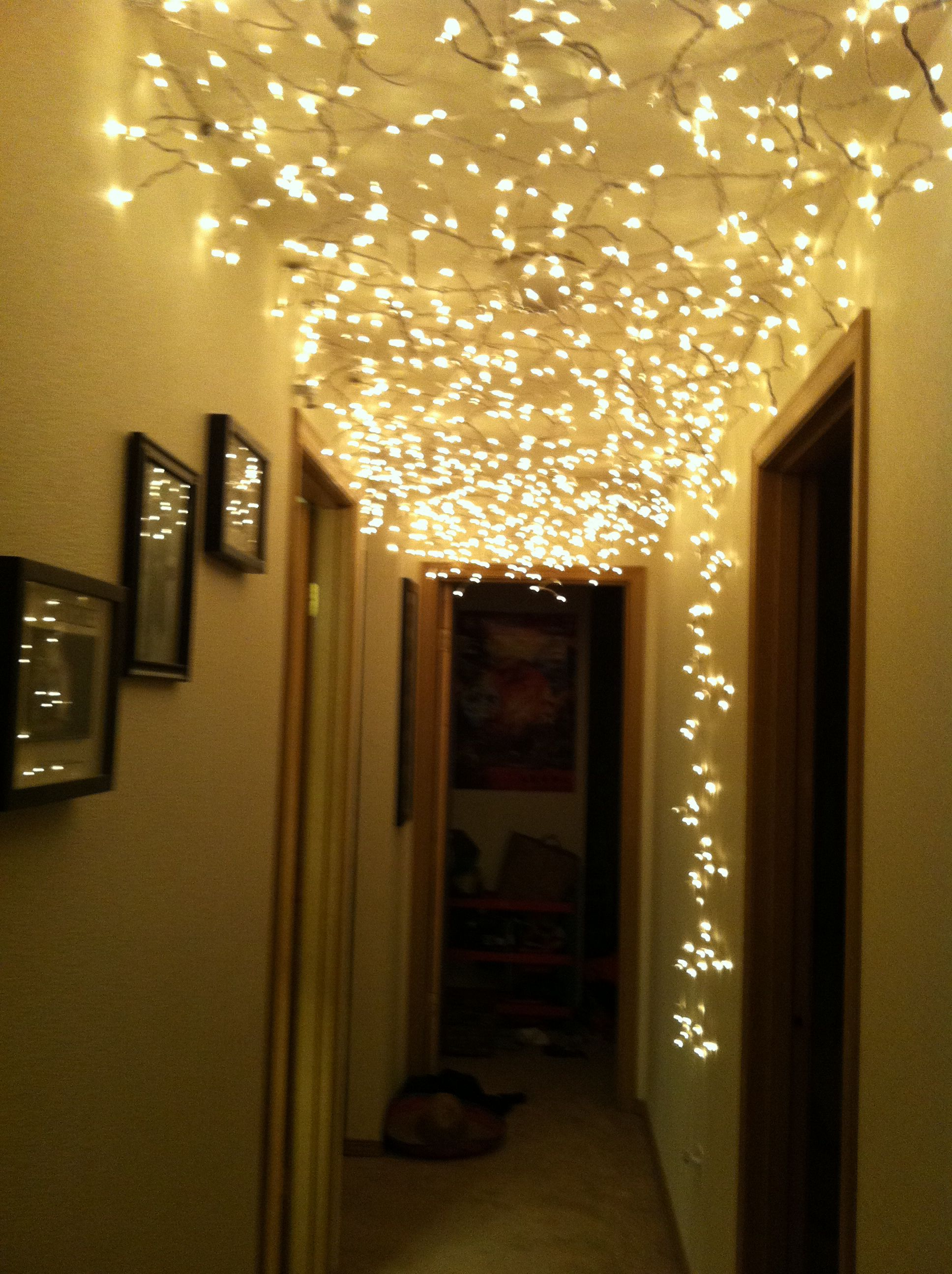 Hall Lights We Used Chrome Duct Tape And Thumb Tacks To Put On Ceiling And From The Outlet Up We Pulled Each Icicl Hall Lighting Creative Lighting Ceiling