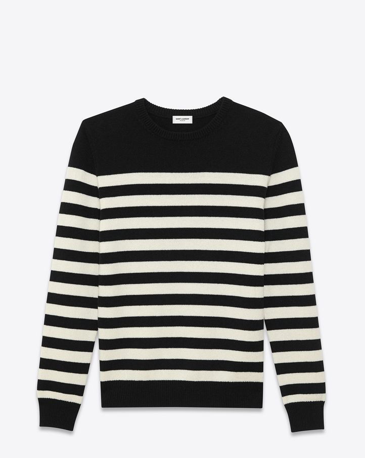 525c85617ddd CLASSIC SAINT LAURENT STRIPED SWEATER WITH FINELY RIBBED NECKLINE, CUFFS  and Waistband.