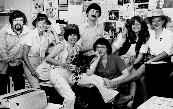 Record staff (June 1982): Rick Chase, Donna ____, Jane Zajec, Tom Davidson, Rae Riebe, BT Huntley, Anne Phillips.(To be updated)
