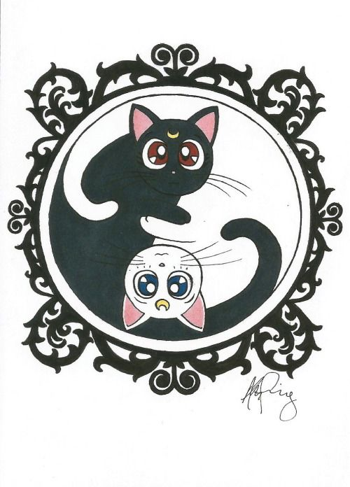 thecatart: Luna and Artemis Yin Yang cat pictures art