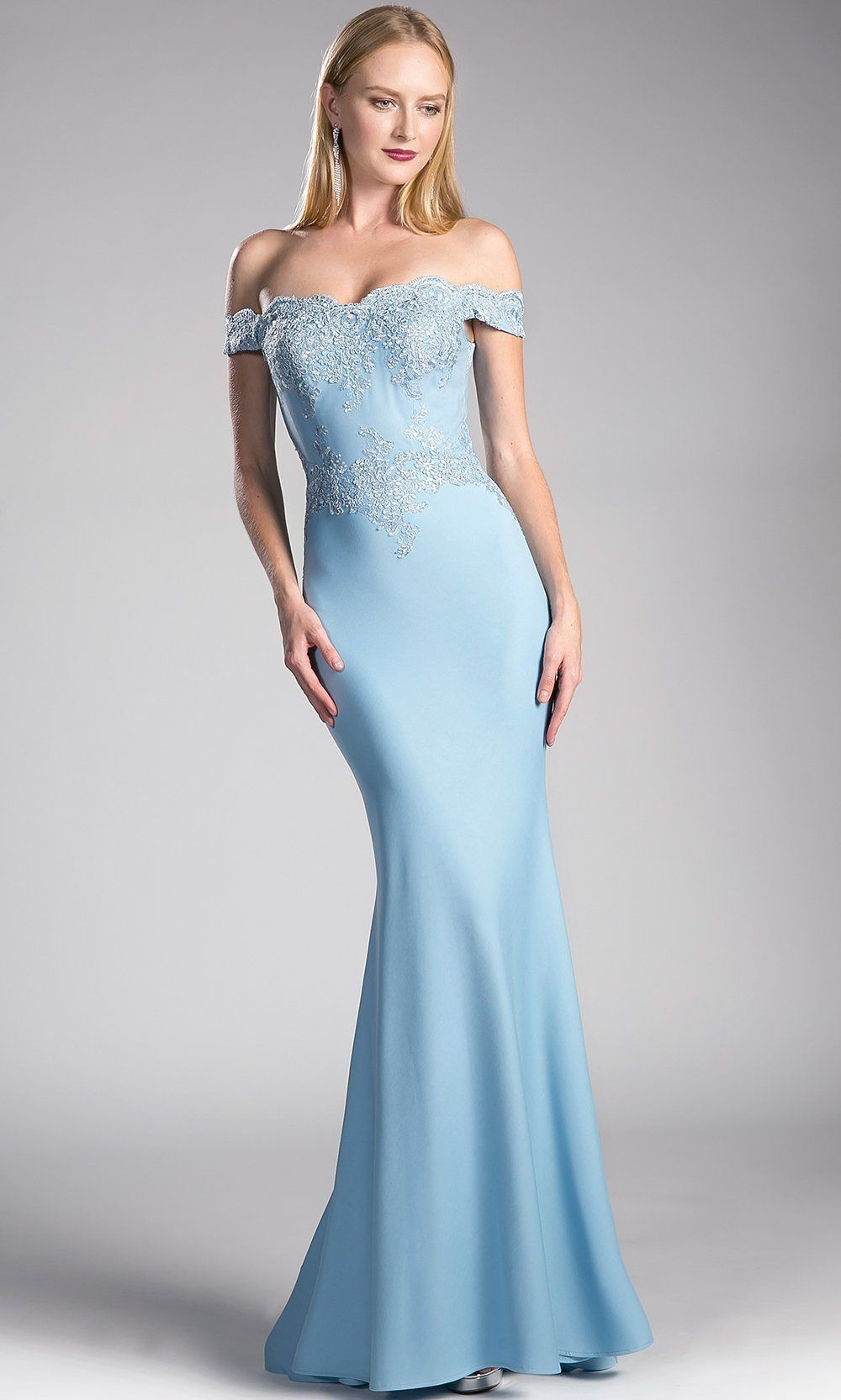 57ec3389706 Long light blue off shoulder fitted dress with lace top. This ice blue  formal lace sleek and sexy gown is perfect for sky blue off shoulder  bridesmaid ...