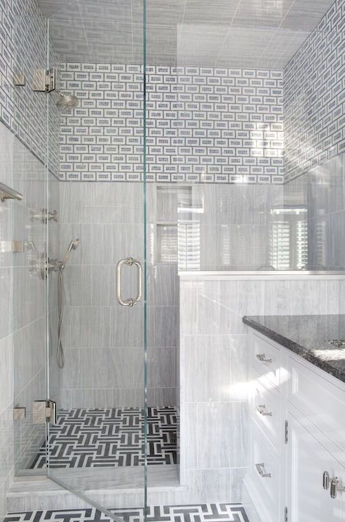 Fantastic Bathroom Features Walls Seamless Glass Shower Clad In A Mix Of  Blue Geometric Tiles Stacked Part 93