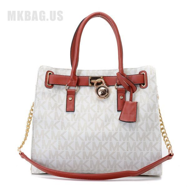 5247165d9db MICHAEL Michael Kors Hamilton Large MK Logo Tote Vanilla Items Description    Vanilla PVC with gray MK logo print and luggage leather trim.