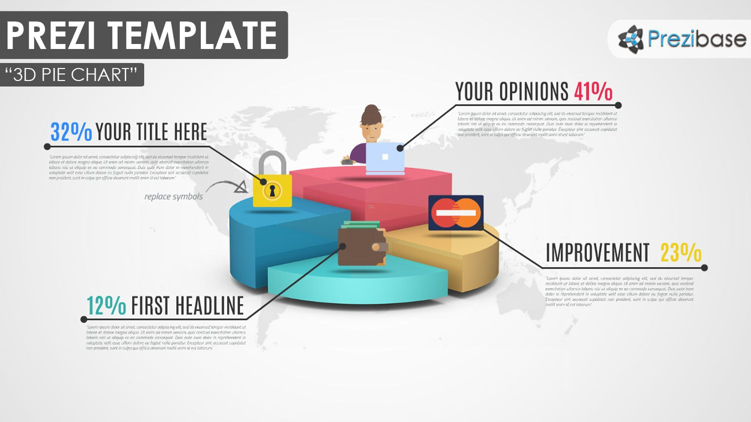 3D Pie Chart Prezi Template With Quarters   Infographic Diagram Graph  Graphs And Charts Templates