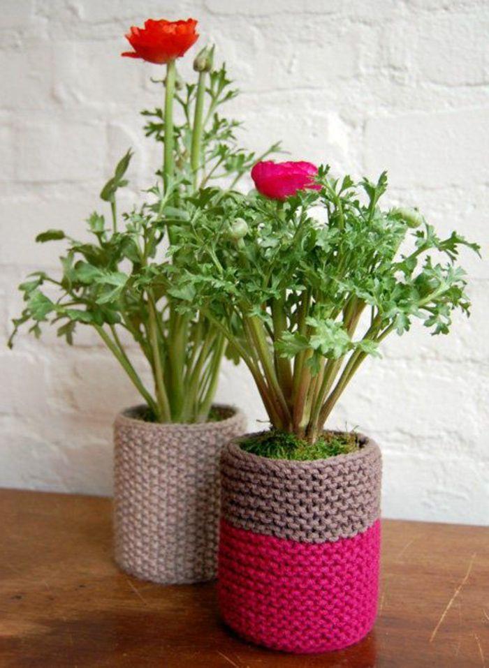 id es malignes pour faire un cache pot pas cher pots pots de fleurs et tricot. Black Bedroom Furniture Sets. Home Design Ideas