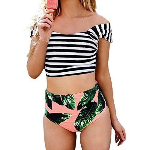229c6f5f41545a Coutgo Women Two Pieces Floral Print Off-shoulder BikiniBandage Waist  Swimsuit Beach Swimwear (S