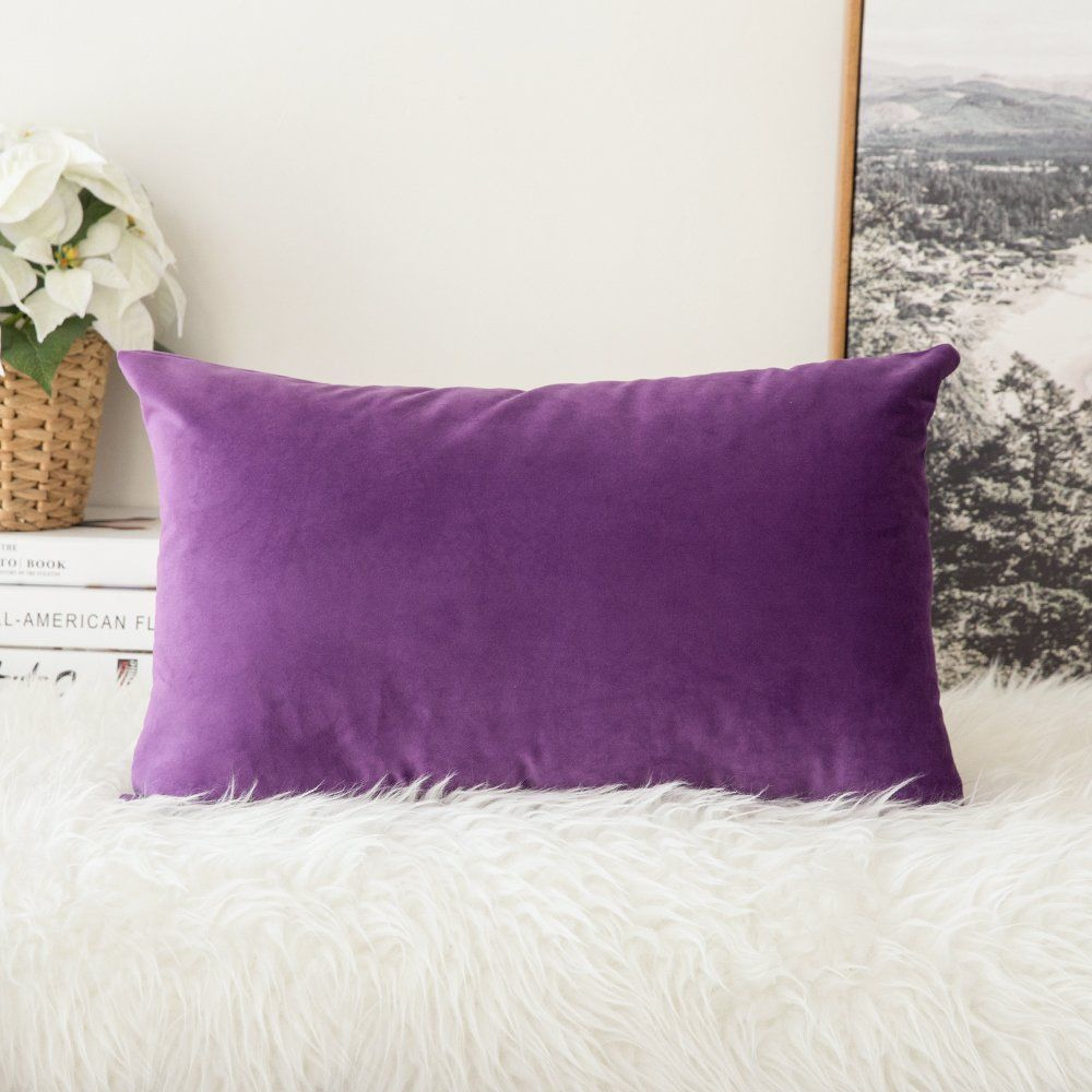 Single Throw Pillow Cover Velvet Cushion Case 12 X 20 Purple Free Shipping Miulee Pillow Covers Velvet Cushions Velvet Pillow Covers