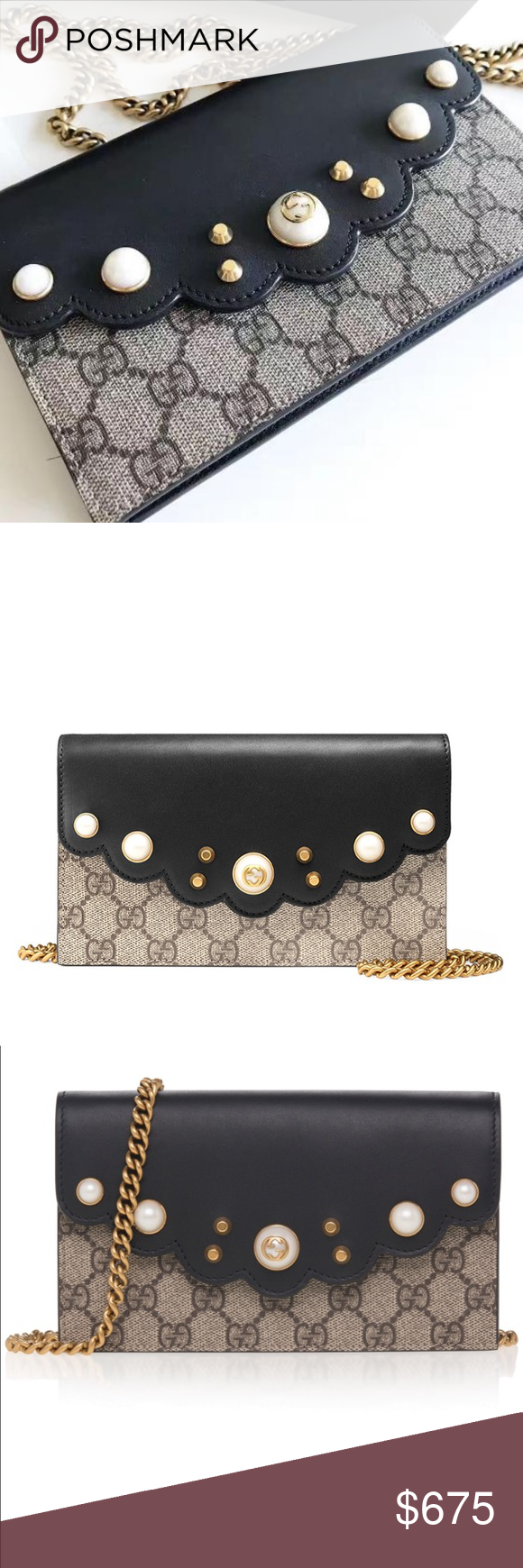 78a32c5ad34cc3 Authentic Gucci Peony GG Supreme Pearl Wallet Authentic Gucci Peony GG  Supreme Pearl Wallet on Chain