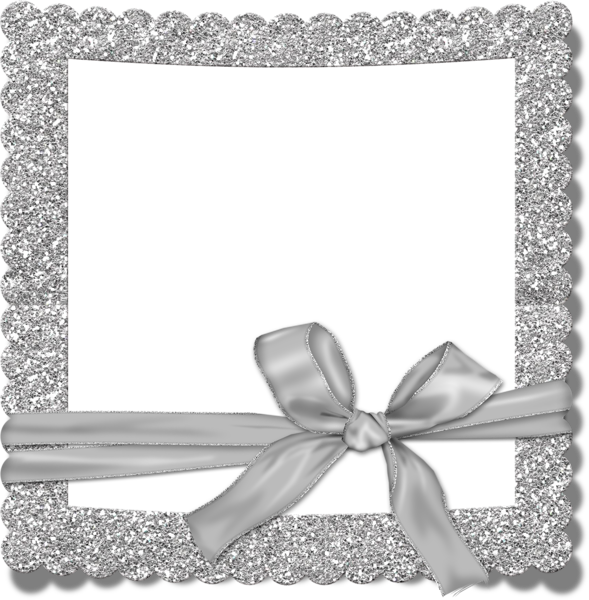 Transparent Silver Photo Frame With Bow Romantic Frame Free Photo Frames Clip Art Freebies